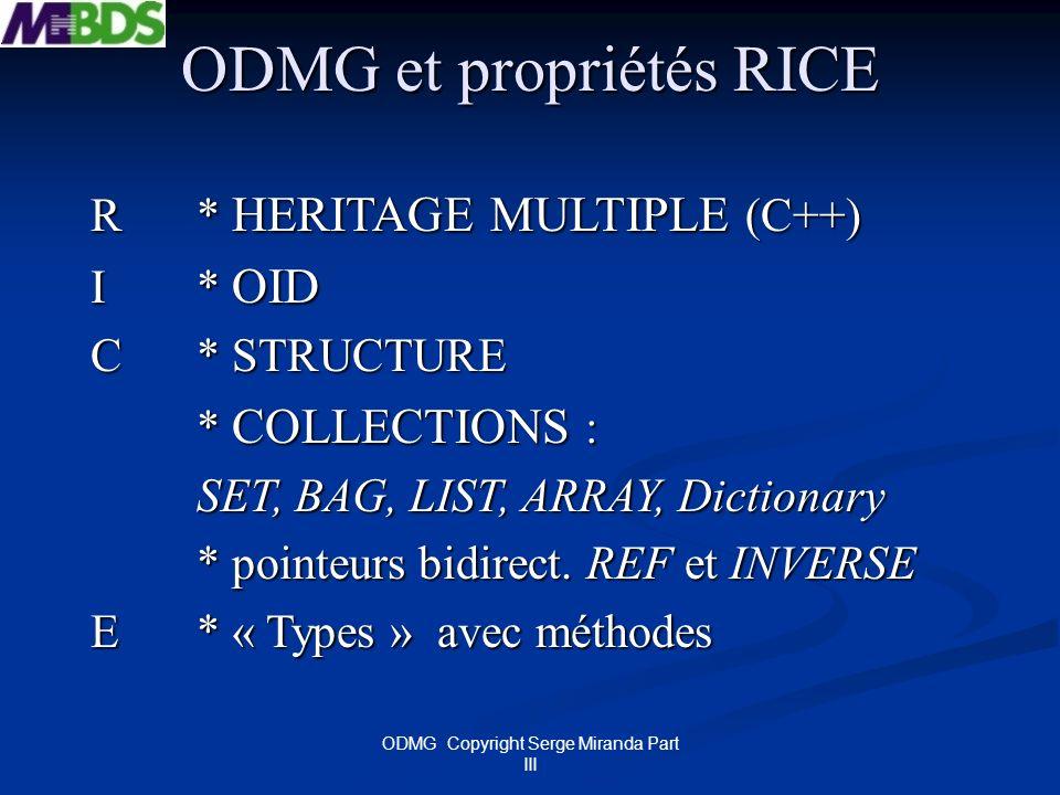 ODMG et propriétés RICE