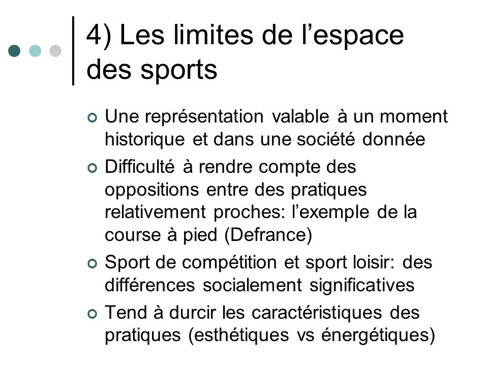 4) Les limites de l'espace des sports