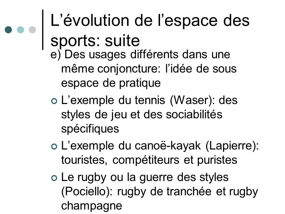 L'évolution de l'espace des sports: suite