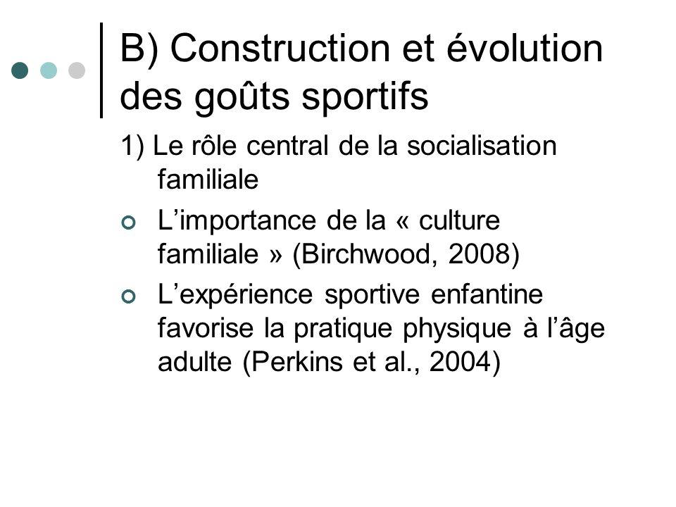 B) Construction et évolution des goûts sportifs