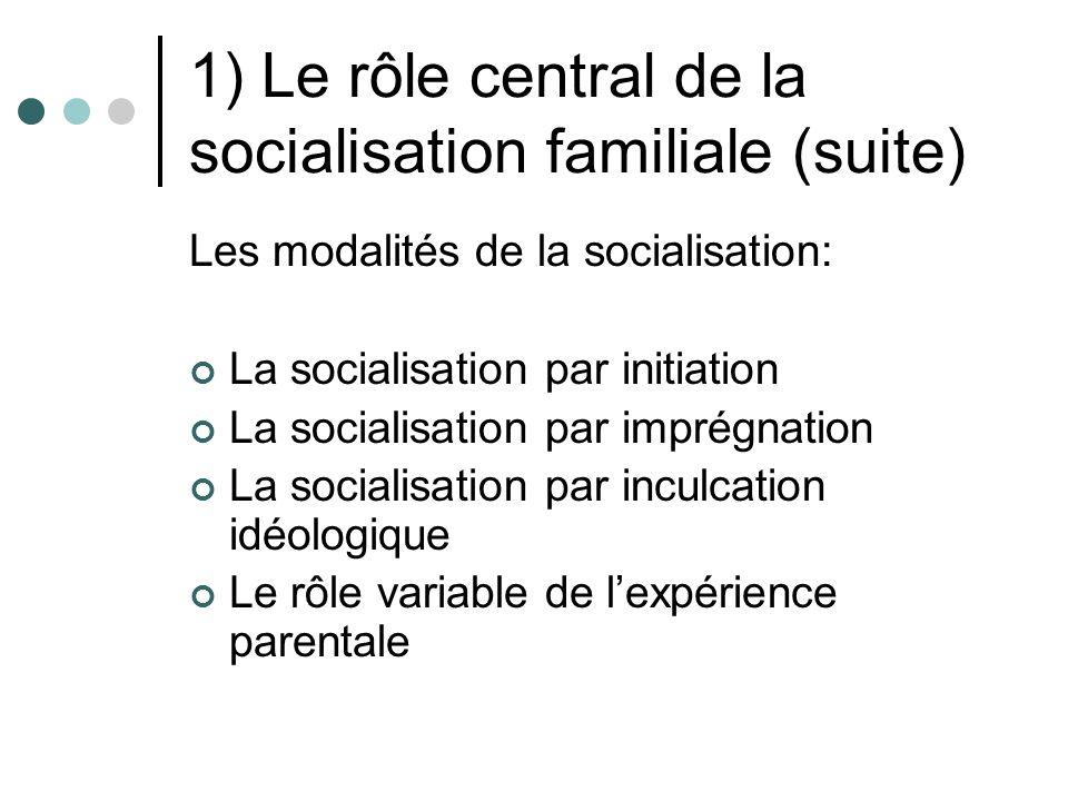 1) Le rôle central de la socialisation familiale (suite)