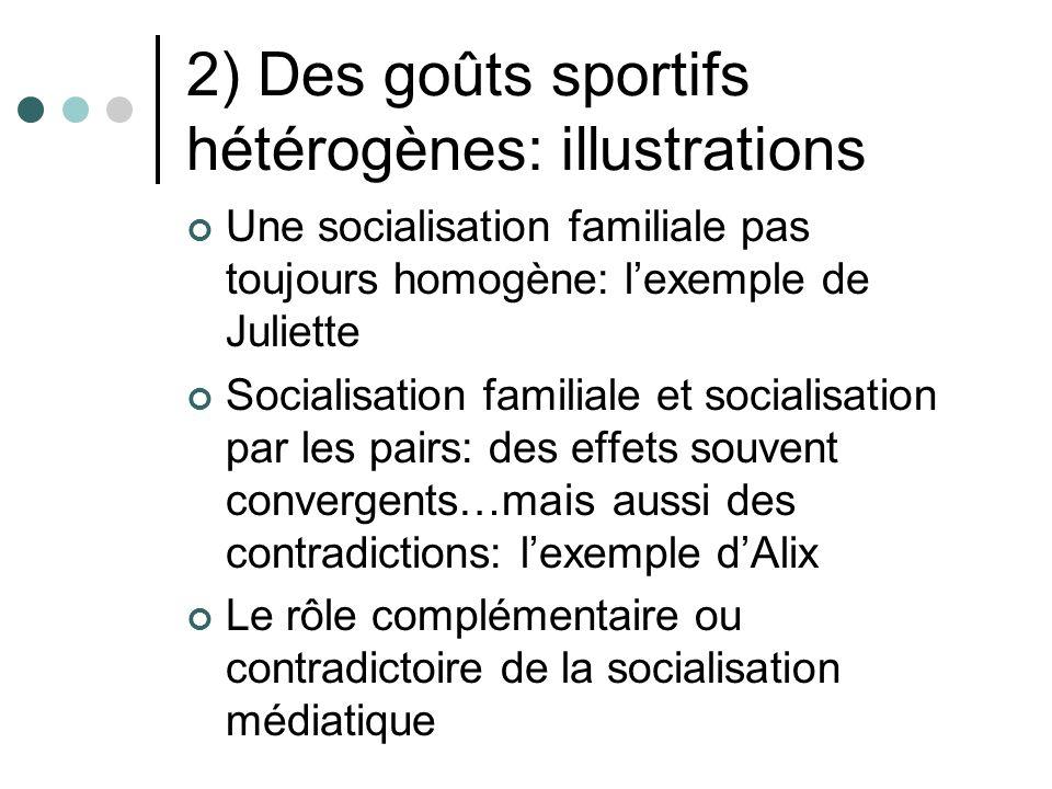 2) Des goûts sportifs hétérogènes: illustrations