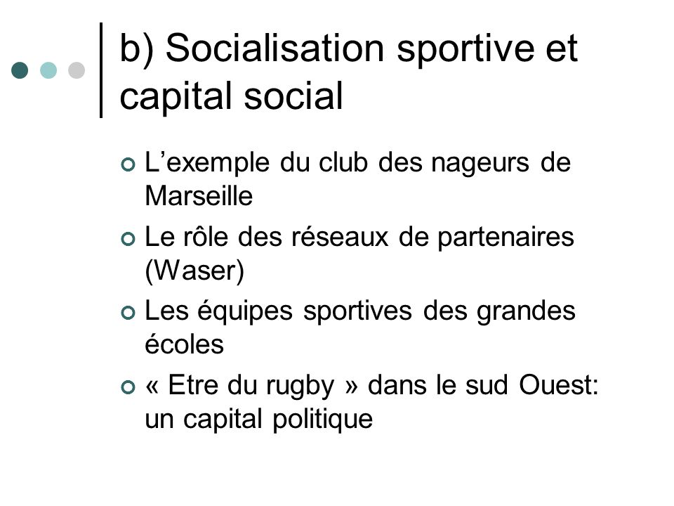 b) Socialisation sportive et capital social
