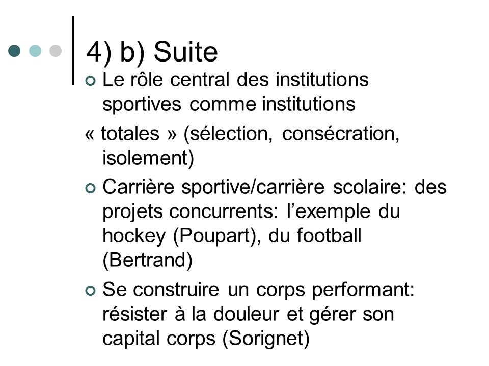 4) b) Suite Le rôle central des institutions sportives comme institutions. « totales » (sélection, consécration, isolement)