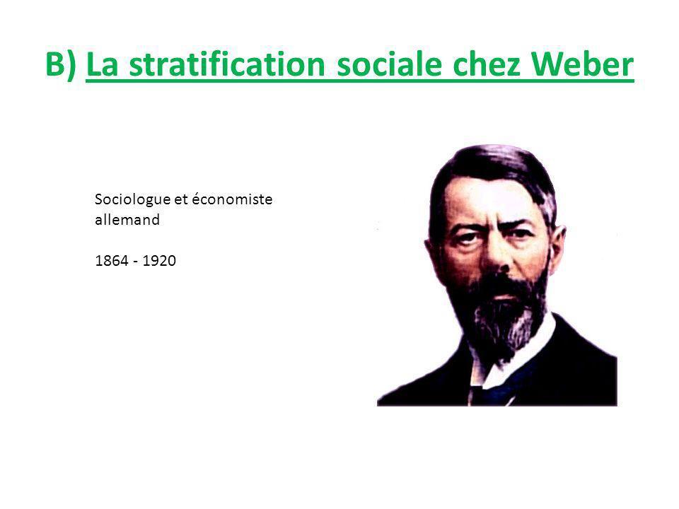 B) La stratification sociale chez Weber