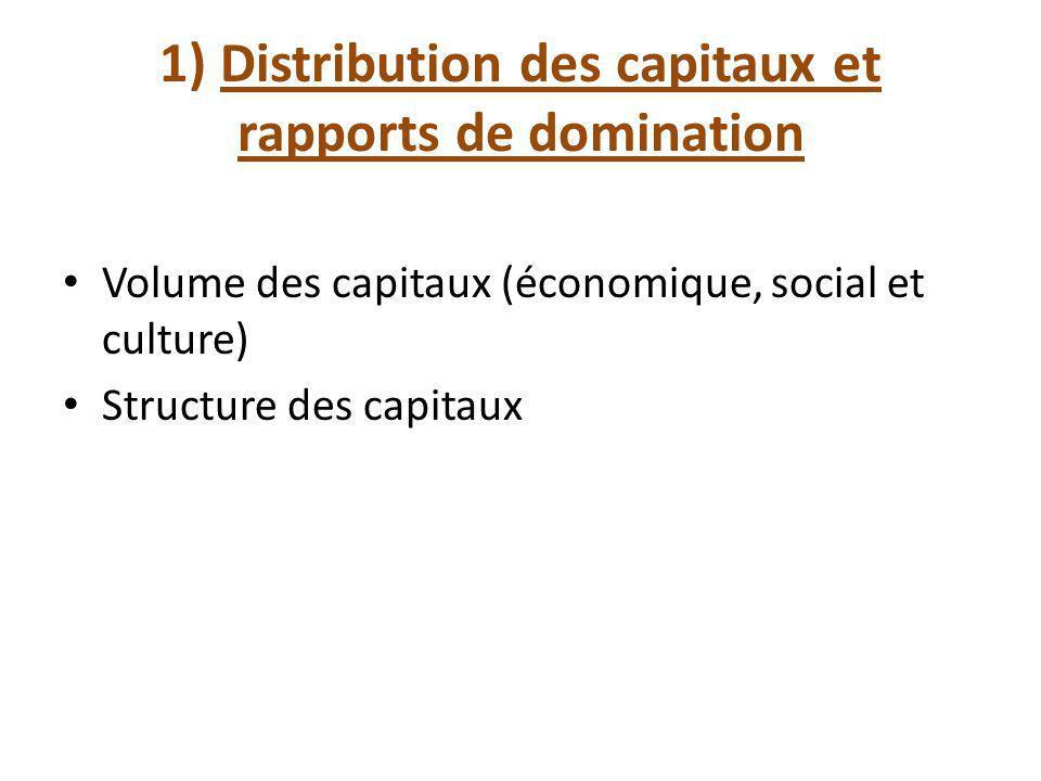 1) Distribution des capitaux et rapports de domination