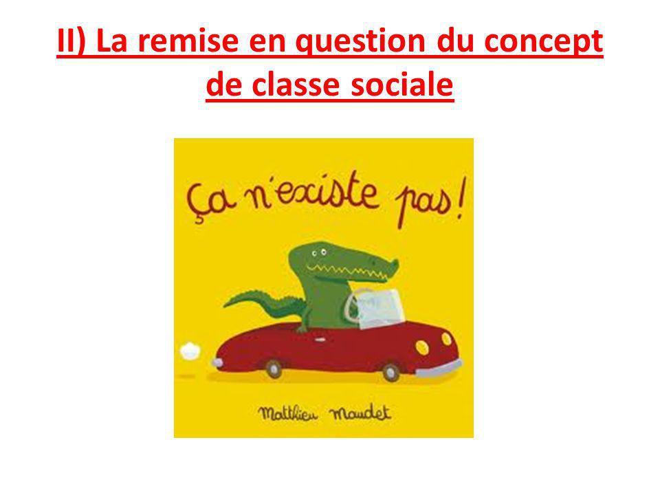 II) La remise en question du concept de classe sociale