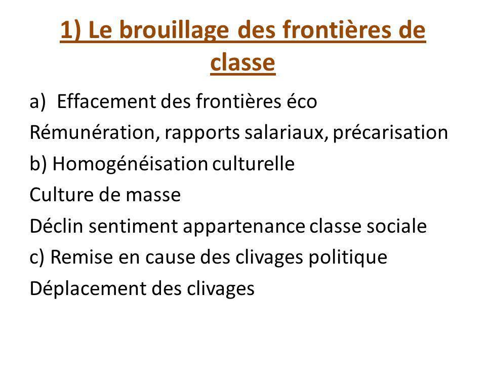 1) Le brouillage des frontières de classe