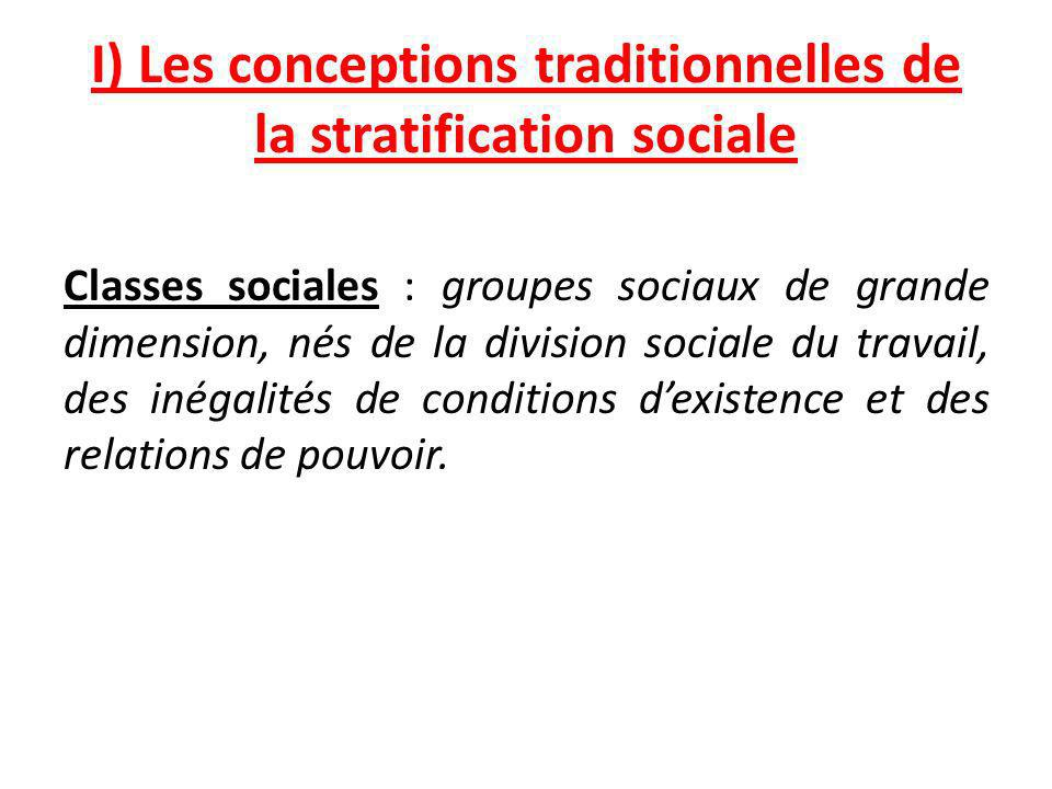 I) Les conceptions traditionnelles de la stratification sociale