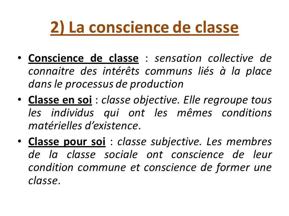 2) La conscience de classe