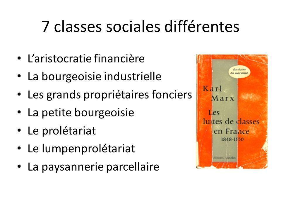 7 classes sociales différentes
