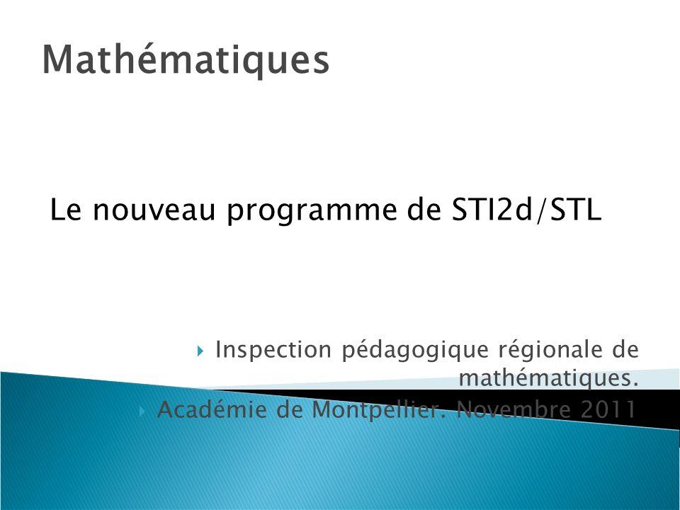 Mathématiques Le nouveau programme de STI2d/STL