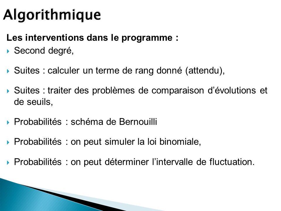 Les interventions dans le programme :