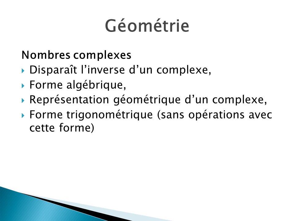 Géométrie Nombres complexes Disparaît l'inverse d'un complexe,