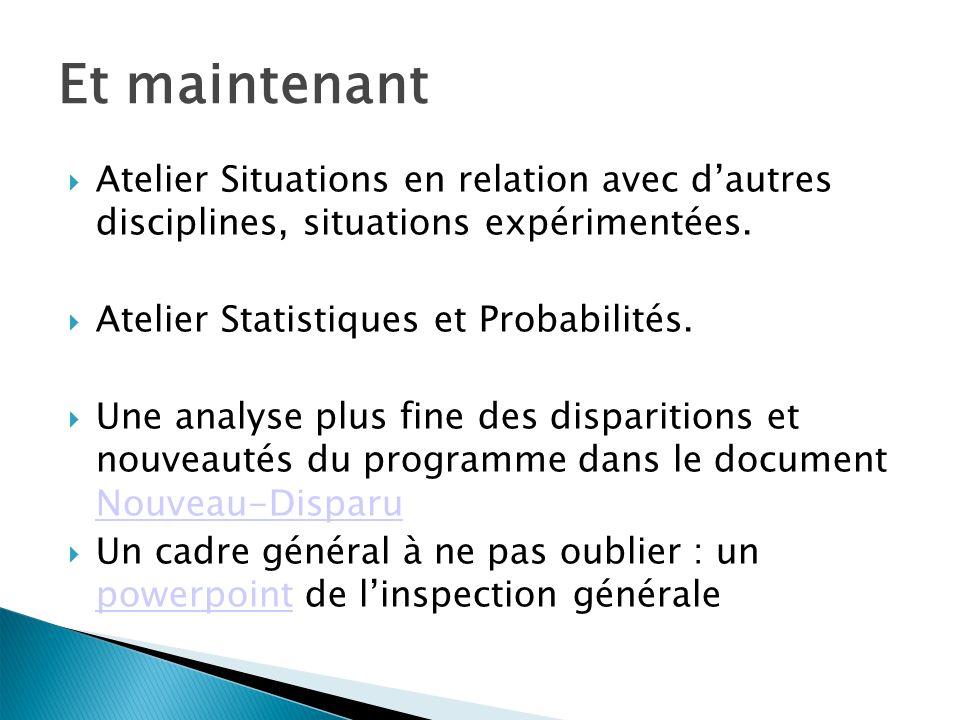 Et maintenant Atelier Situations en relation avec d'autres disciplines, situations expérimentées. Atelier Statistiques et Probabilités.
