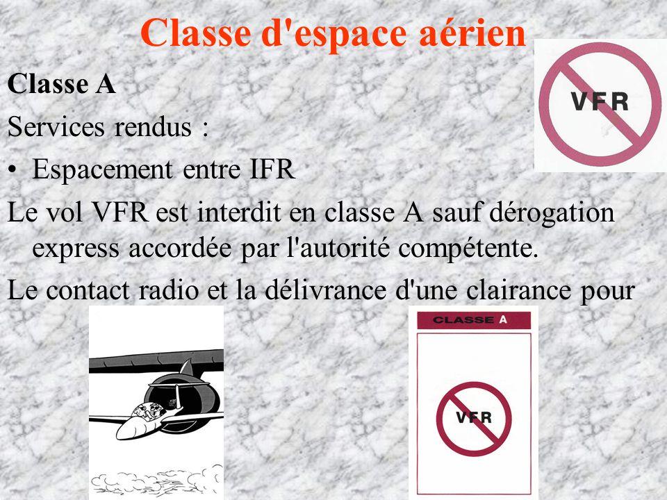 Classe d espace aérien Classe A Services rendus : Espacement entre IFR