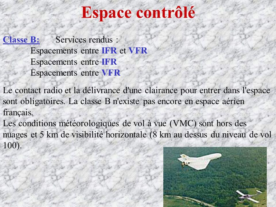 Espace contrôlé Classe B: Services rendus :