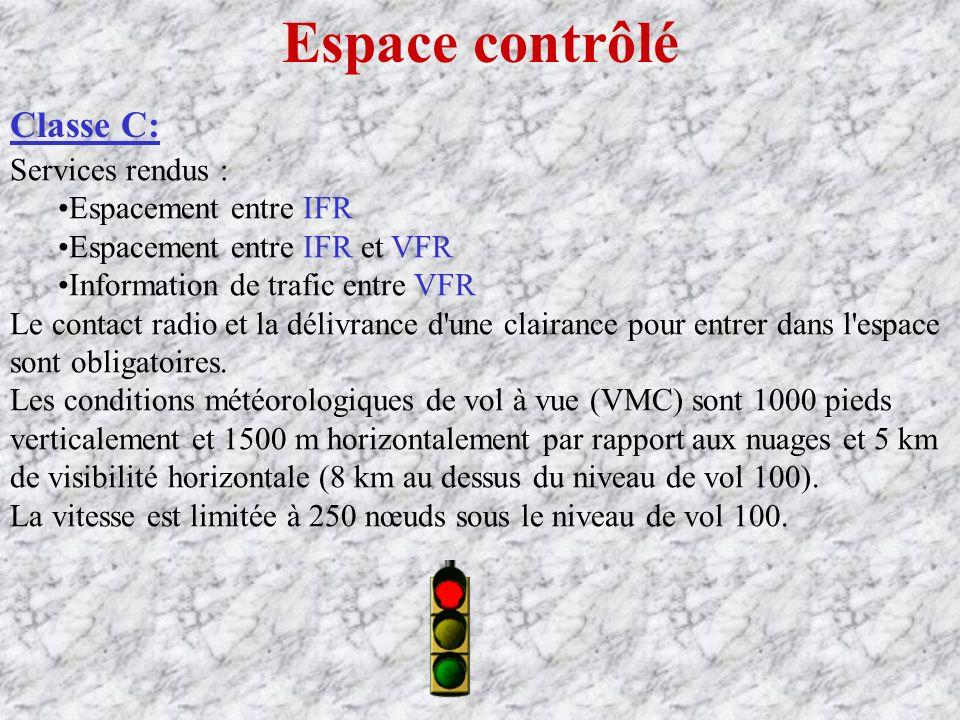 Espace contrôlé Classe C: Services rendus : Espacement entre IFR