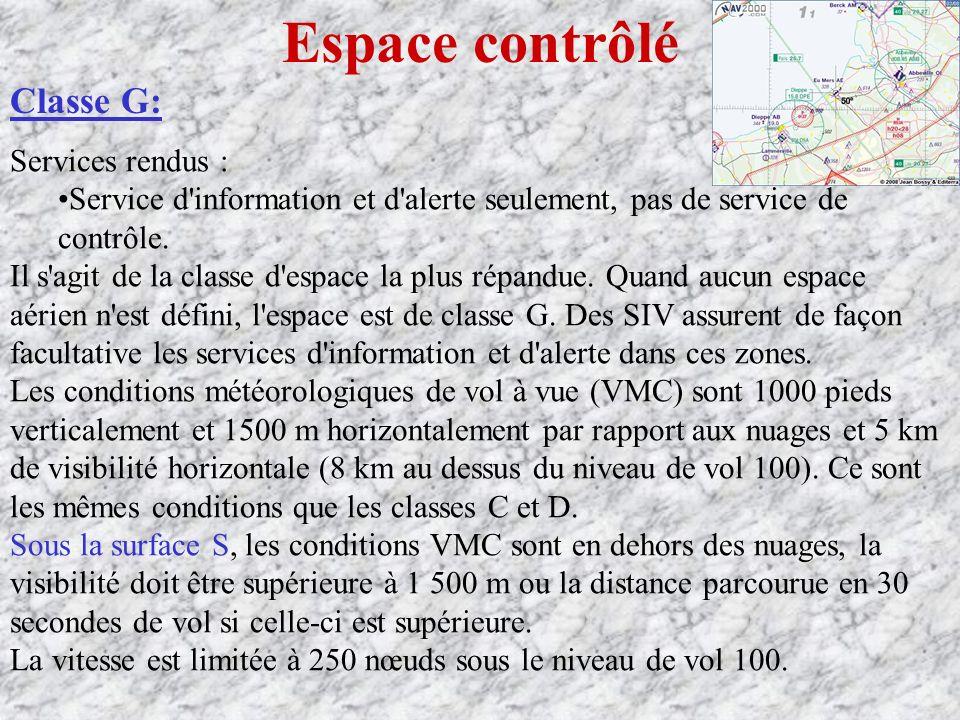 Espace contrôlé Classe G: Services rendus :