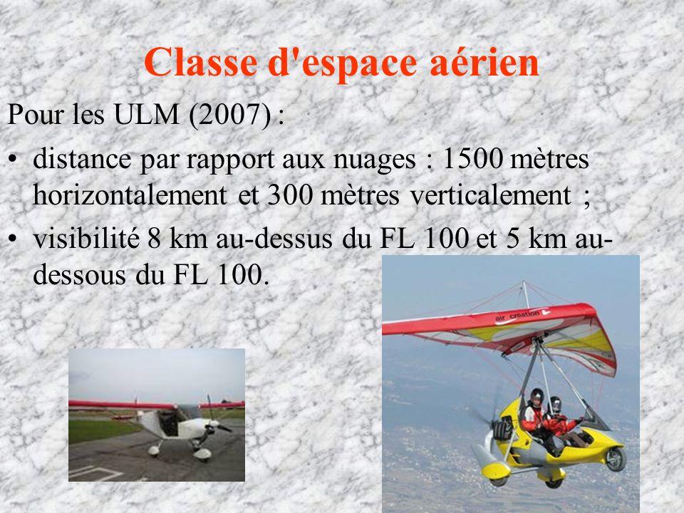 Classe d espace aérien Pour les ULM (2007) :