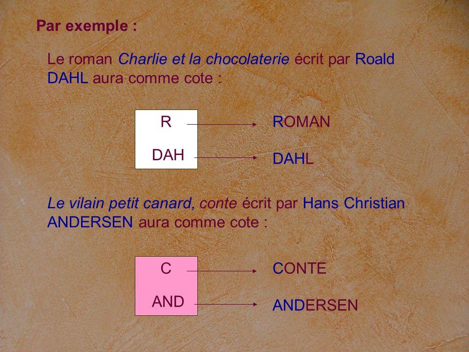 Par exemple : Le roman Charlie et la chocolaterie écrit par Roald DAHL aura comme cote : R. ROMAN.