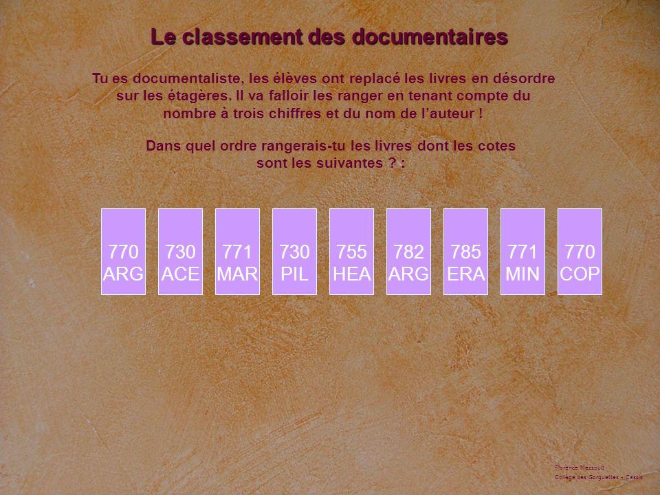 Le classement des documentaires