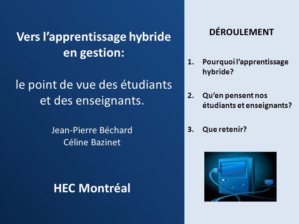 Vers l'apprentissage hybride en gestion: le point de vue des étudiants et des enseignants. Jean-Pierre Béchard Céline Bazinet HEC Montréal