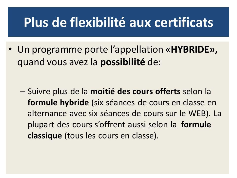 Plus de flexibilité aux certificats
