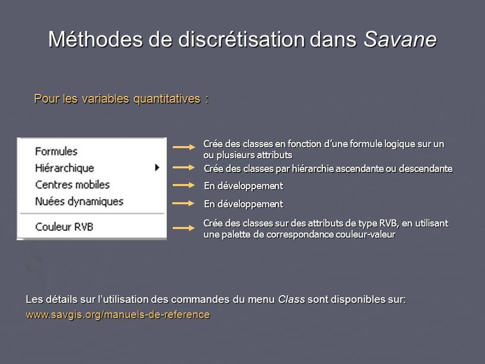Méthodes de discrétisation dans Savane