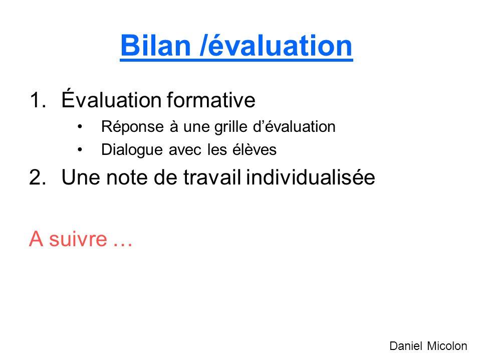 Bilan /évaluation Évaluation formative