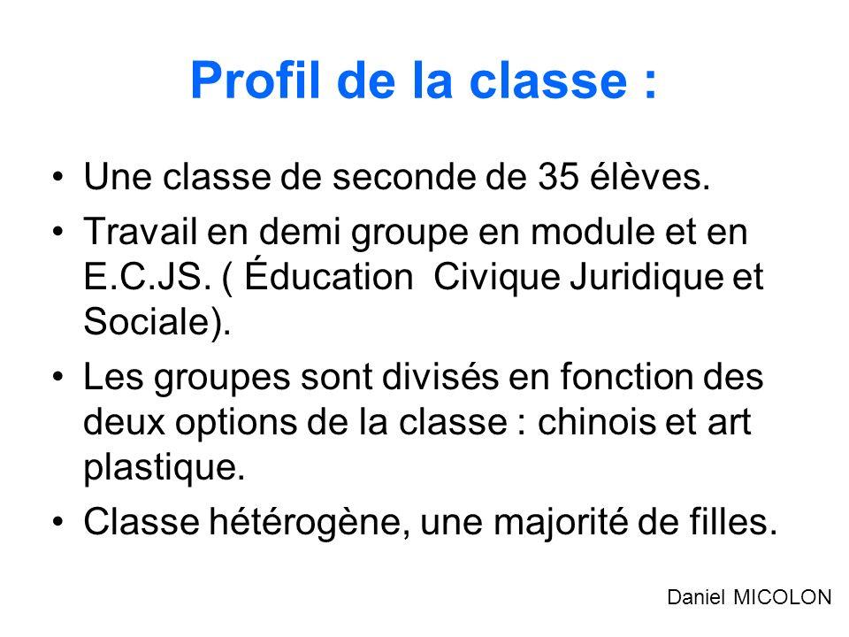 Profil de la classe : Une classe de seconde de 35 élèves.
