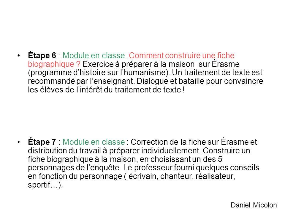 Étape 6 : Module en classe. Comment construire une fiche biographique