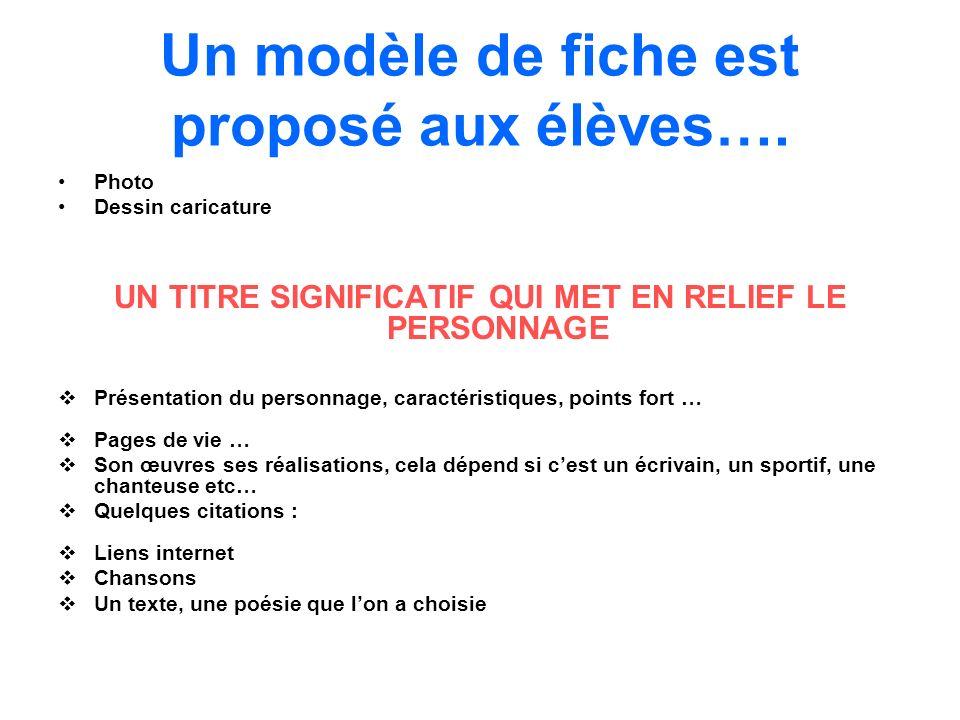 Un modèle de fiche est proposé aux élèves….