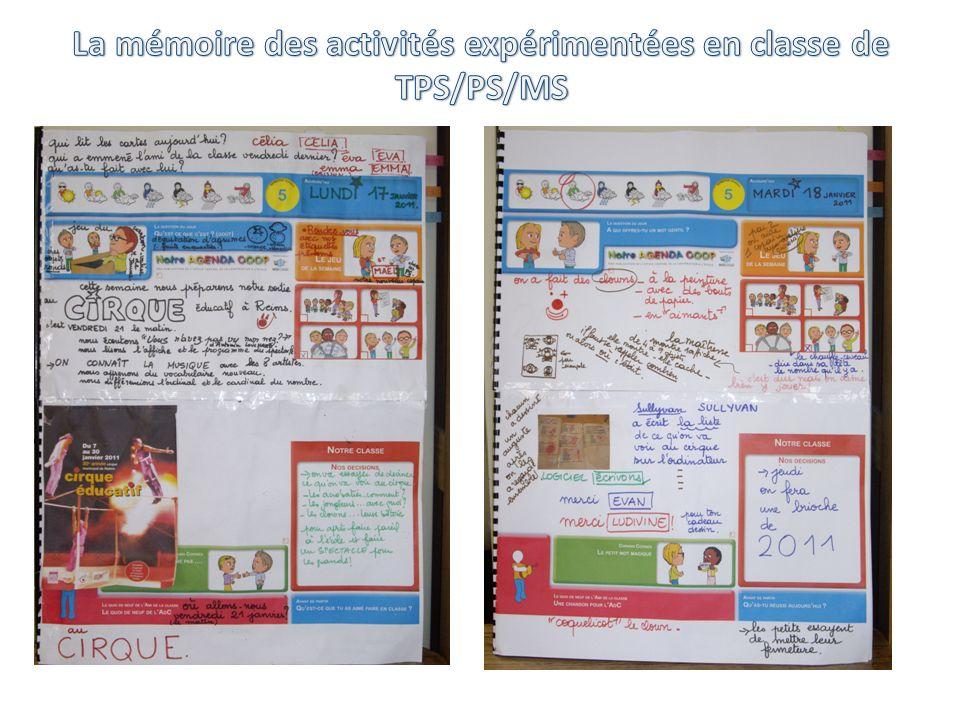 La mémoire des activités expérimentées en classe de TPS/PS/MS