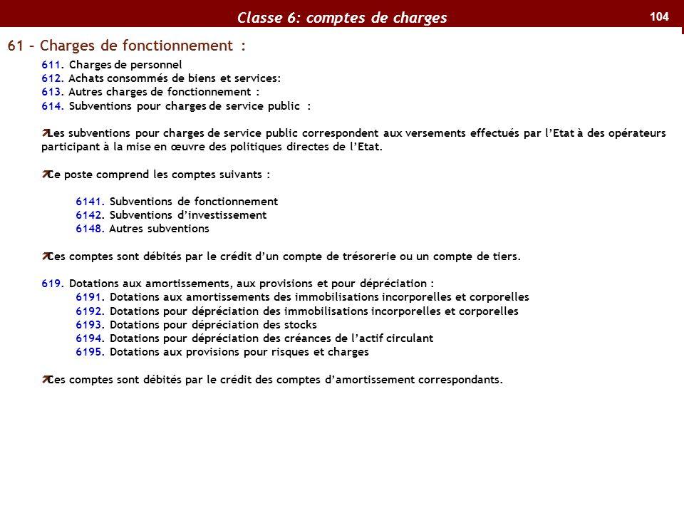 Classe 6: comptes de charges