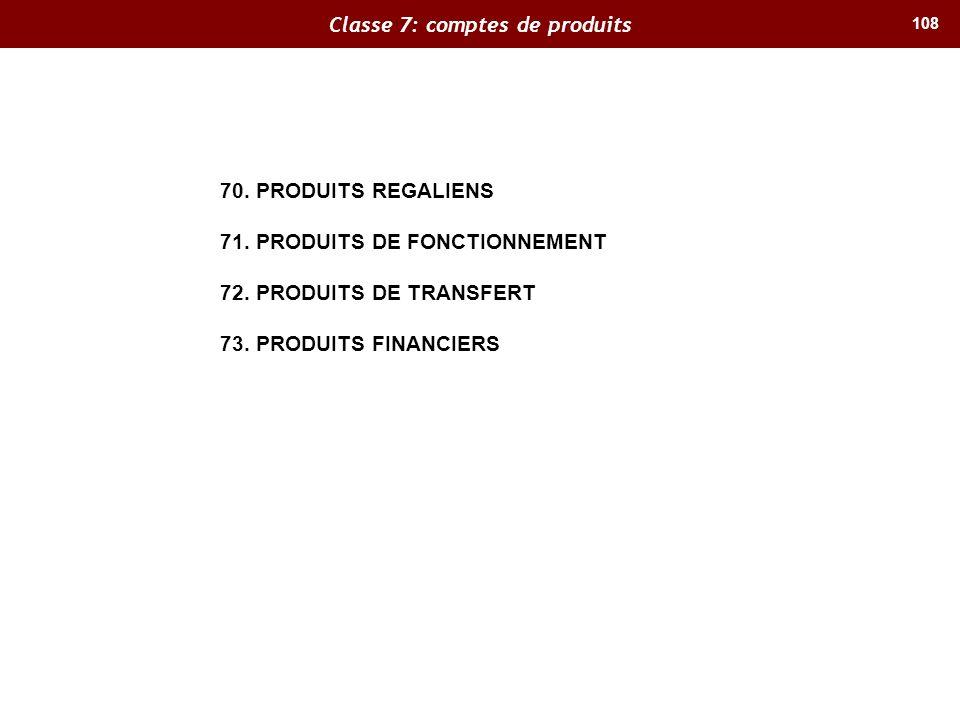 Classe 7: comptes de produits