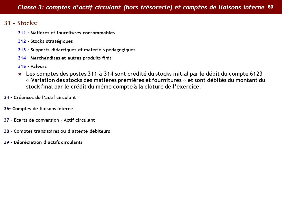 Classe 3: comptes d'actif circulant (hors trésorerie) et comptes de liaisons interne