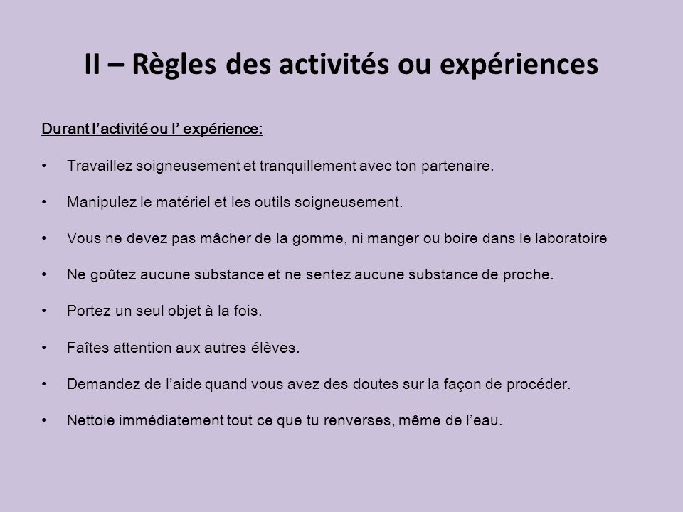 II – Règles des activités ou expériences