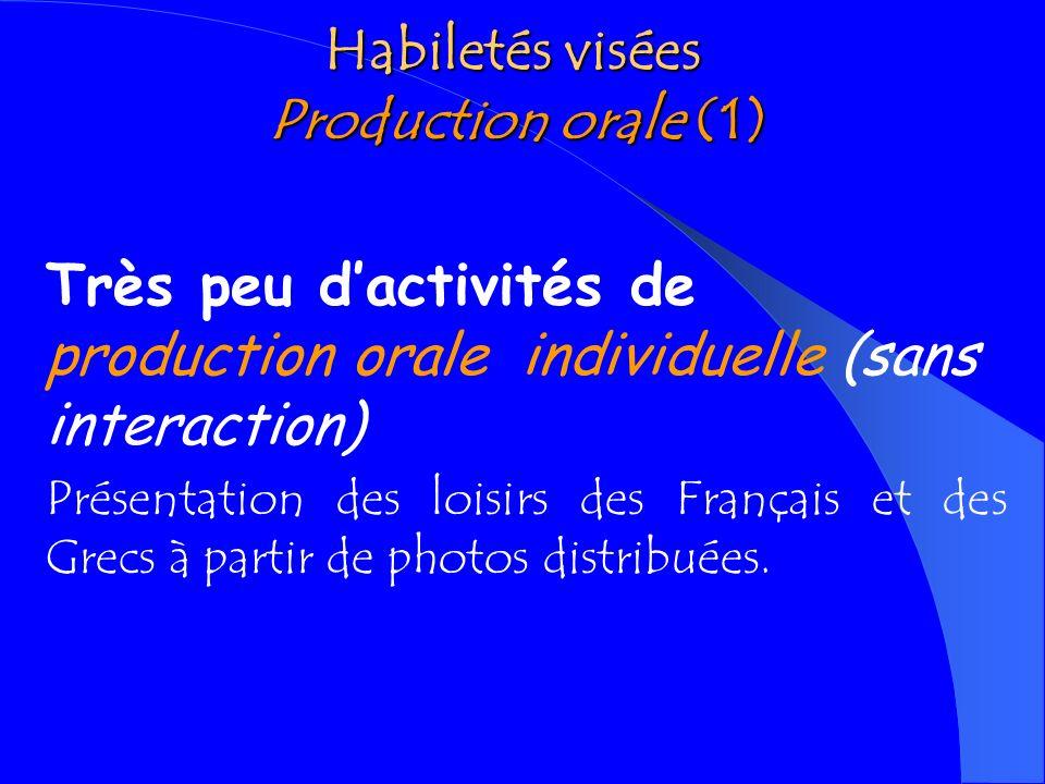 Habiletés visées Production orale (1)