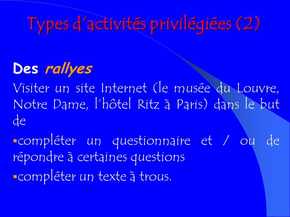 Types d'activités privilégiées (2)