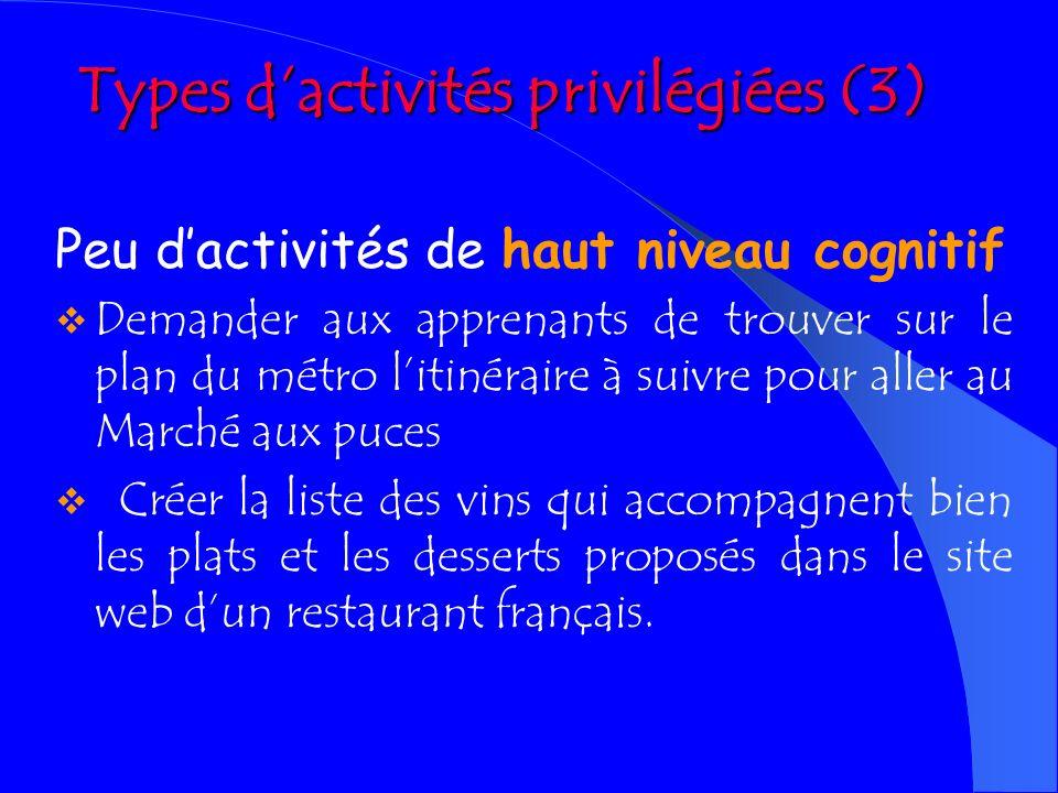 Types d'activités privilégiées (3)