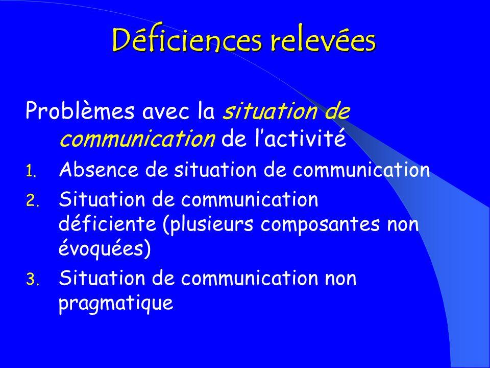 Déficiences relevées Problèmes avec la situation de communication de l'activité. Absence de situation de communication