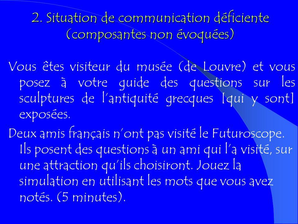2. Situation de communication déficiente (composantes non évoquées)