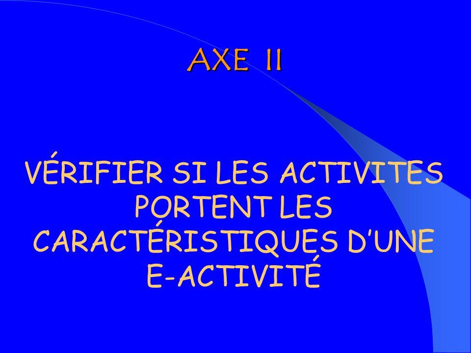 AXE II VÉRIFIER SI LES ACTIVITES PORTENT LES CARACTÉRISTIQUES D'UNE E-ACTIVITÉ