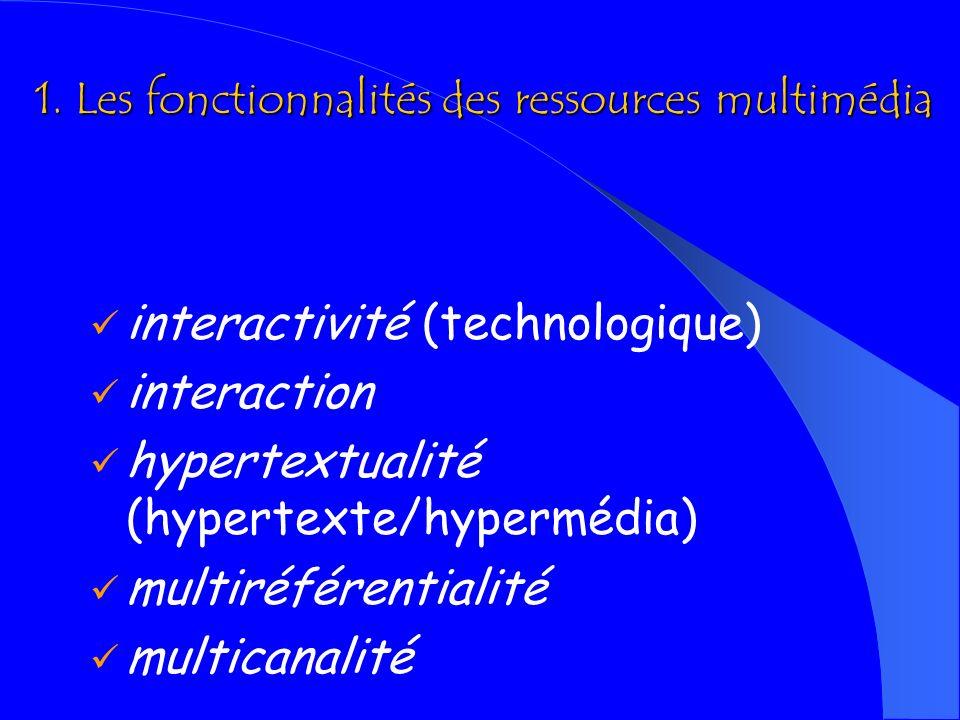 1. Les fonctionnalités des ressources multimédia