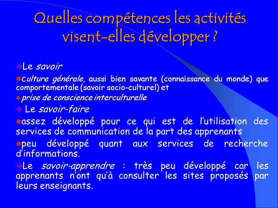 Quelles compétences les activités visent-elles développer