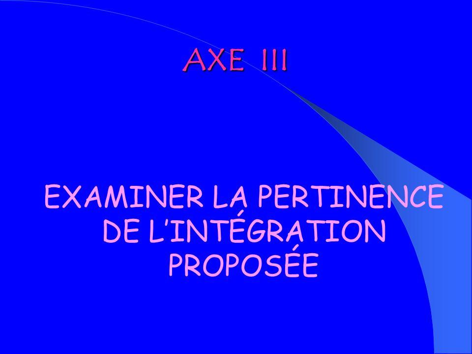 EXAMINER LA PERTINENCE DE L'INTÉGRATION PROPOSÉE