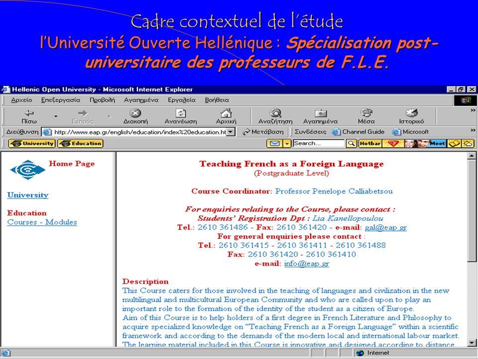 Cadre contextuel de l'étude l'Université Ouverte Hellénique : Spécialisation post-universitaire des professeurs de F.L.E.