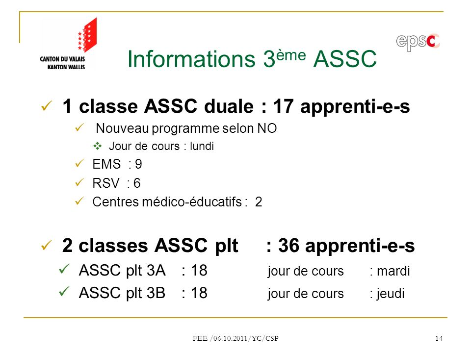 Informations 3ème ASSC 1 classe ASSC duale : 17 apprenti-e-s