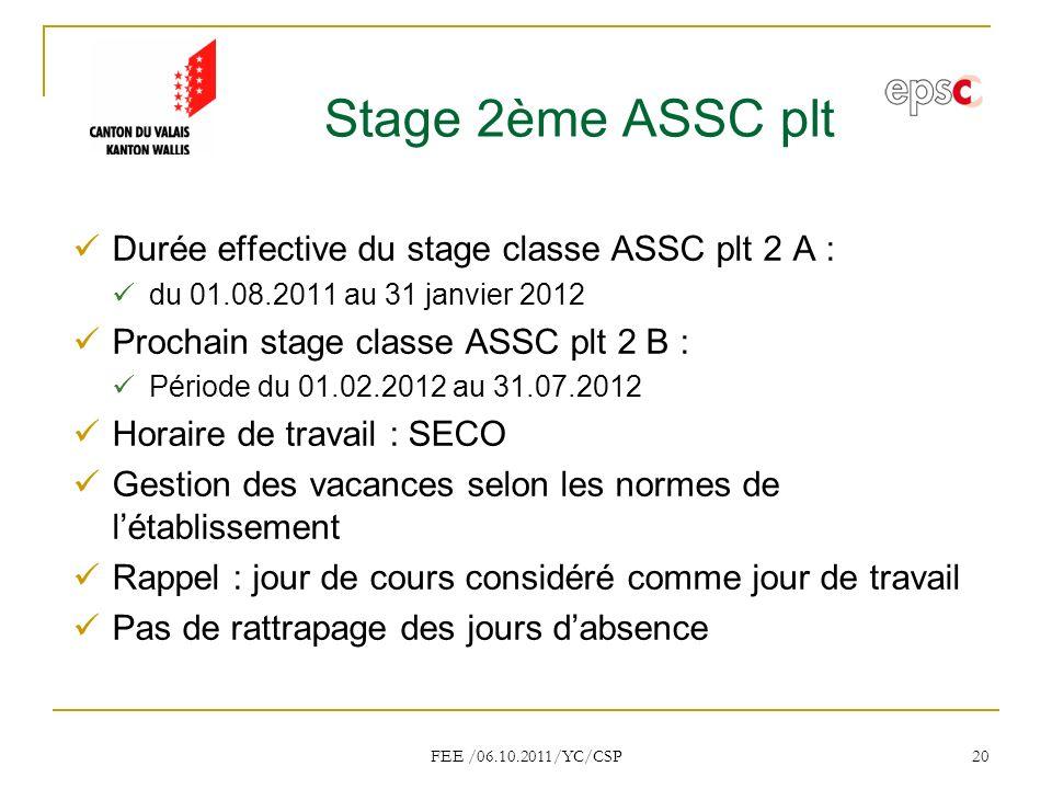 Stage 2ème ASSC plt Durée effective du stage classe ASSC plt 2 A :